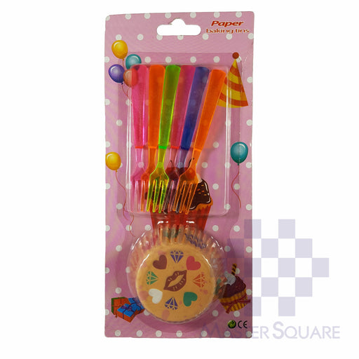 Cupcake And Cake Fork Set Of 6 Orange Hearts-Master Square
