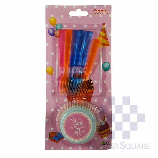Cupcake And Cake Fork Set Of 6 Pink Flower-Master Square