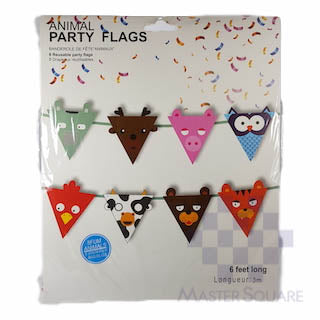 Party Flag Banner Animals Pennant 3m-Master Square