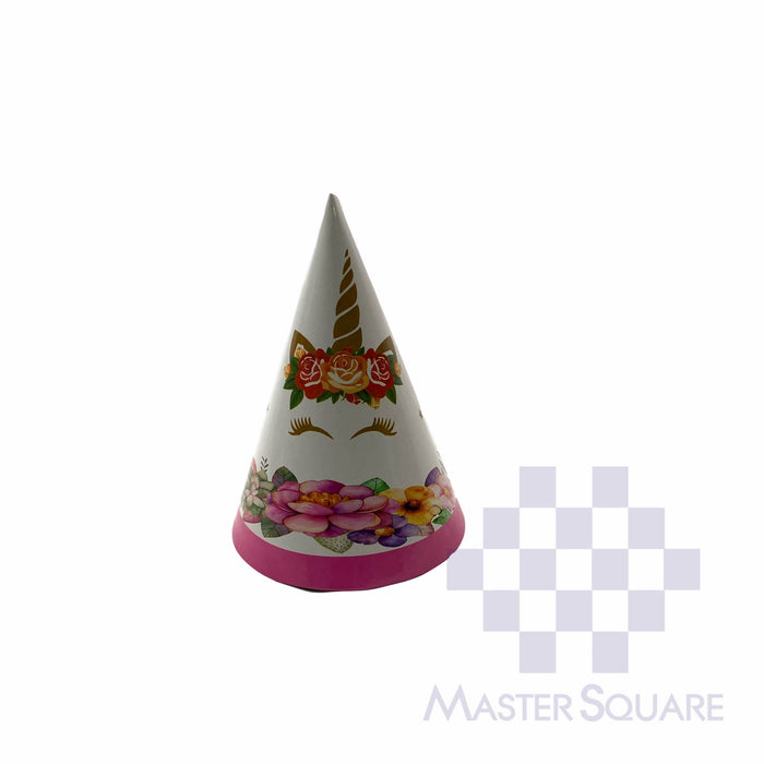 Party Hat 20cm Unicorn White & Gold Set Of 10-Master Square