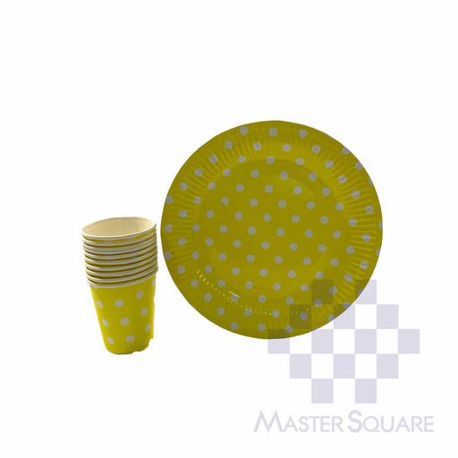"Party Paper Cups H3"" And Round Plates D9"" 10's Yellow Polka Dots-Master Square"