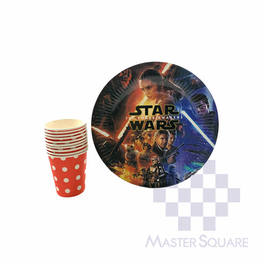 "Party Paper Red Cups H3"" And Round Plates D9"" 10's Starwars-Master Square"