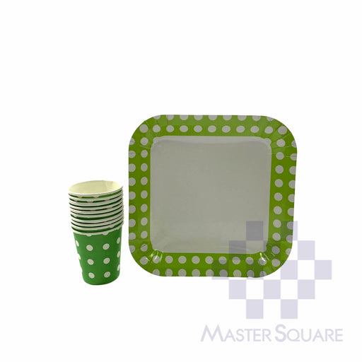 "Party Paper Cups H3"" And Square Plates D9"" 10's Green Polka Dots-Master Square"
