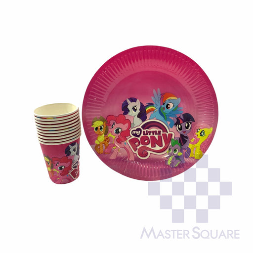 "Party Paper Cups H3"" And Round Plates D9"" 10's My Little Pony-Master Square"