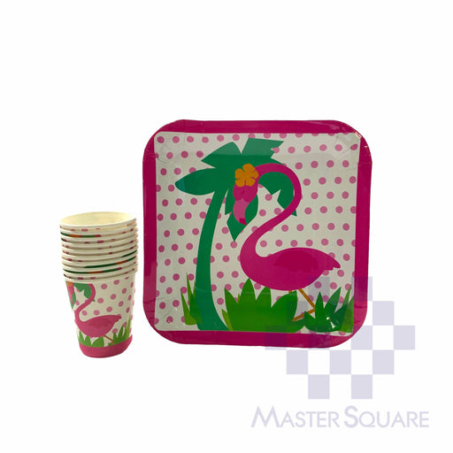 "Party Paper Cups H3"" And Squre Plates D9"" 10's Flamingo-Master Square"