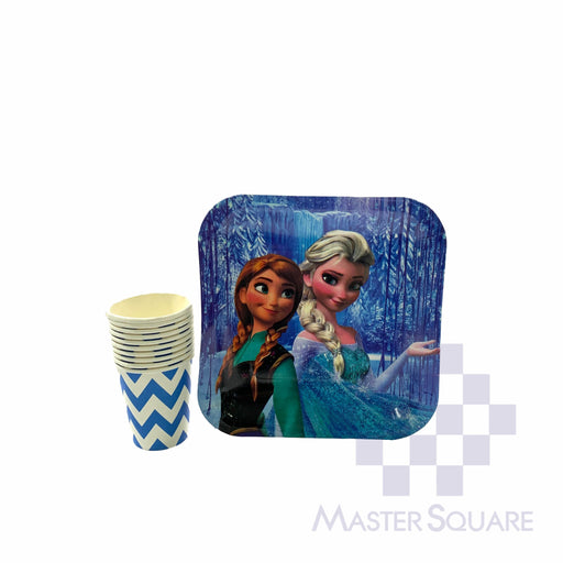 "Party Paper Blue Cups H3"" And Squre Plates D9"" 10's Frozen-Master Square"