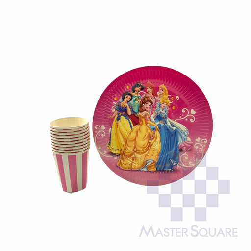 "Party Paper Pink Cups H3"" And Round Plates D9"" 10's Princess-Master Square"