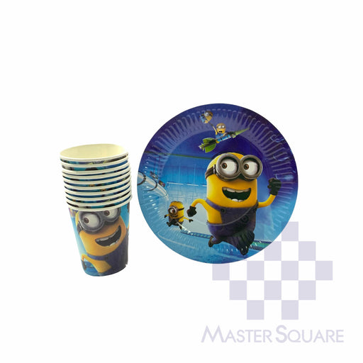 "Party Paper Cups H3"" And Round Plates D7"" 10's Minion-Master Square"