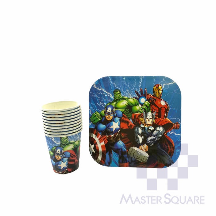 "Party Paper Cups H3"" And Squre Plates D7"" 10's Avengers-Master Square"