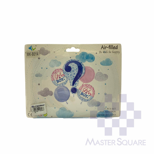Girl Or Boy? Foil Balloon Set Of 5 Blue Mk-b014-Master Square