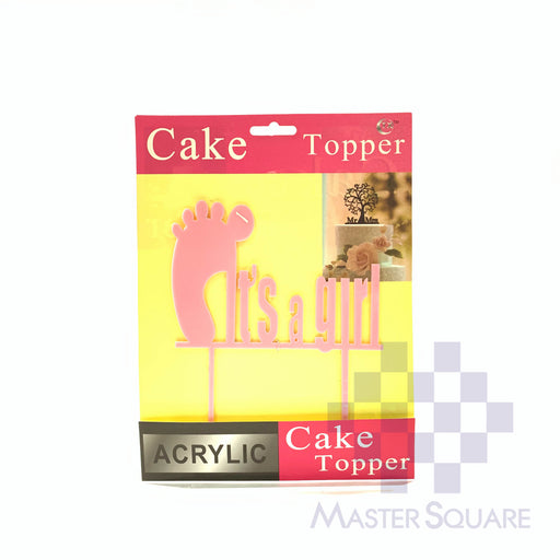 Cake Topper Kit It's A Girl Acrylic Pink-Master Square