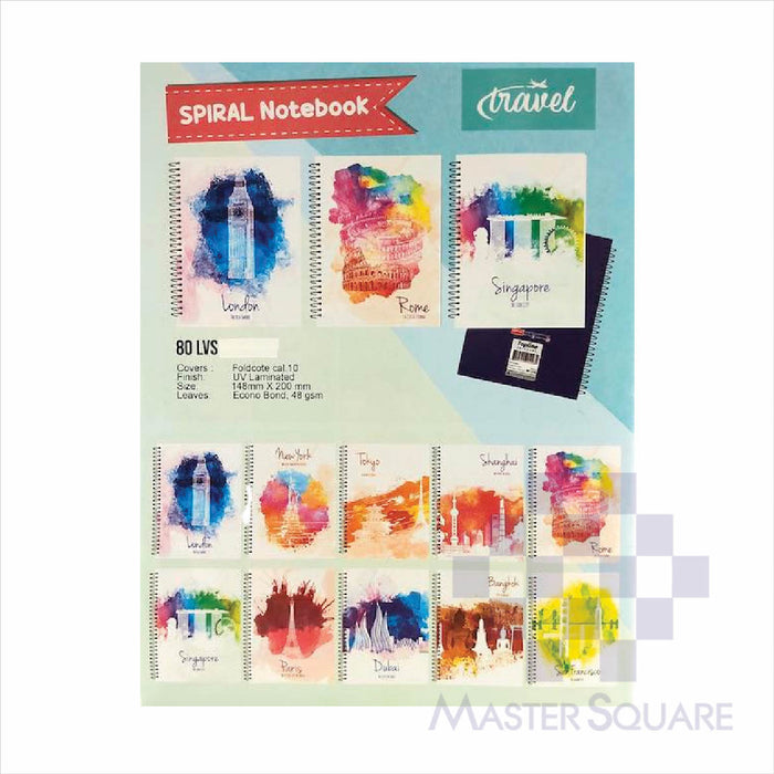 Topline Spiral Notebook 80leaves Travel Set Of 10-Master Square