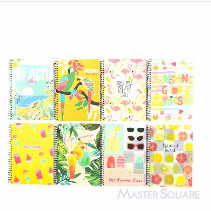 Spiral Notebook 685 80 Leaves Summer Paradise 8 Designs Set Of 10-Master Square