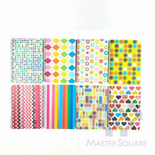 Spiral Notebook 685 80 Leaves Cool Prints 8 Designs Set Of 10-Master Square
