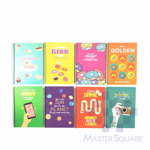 Spiral Notebook 685 80 Leaves Express Pick-up Lines 8 Designs Set Of 10-Master Square