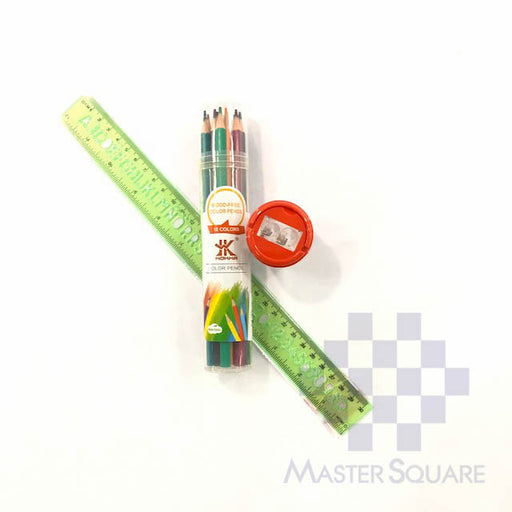 School Set 7 : Abc 12 In Ruler, Double Hole Sharpener 0107, Hokka 12 Colour Pencil In Tube Case-Master Square