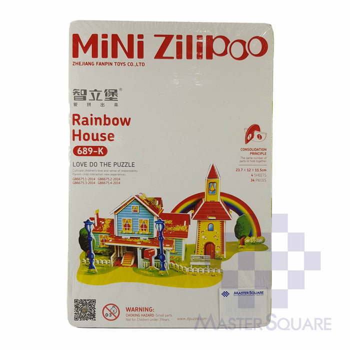 Press-out Puzzle Rainbow House-Master Square