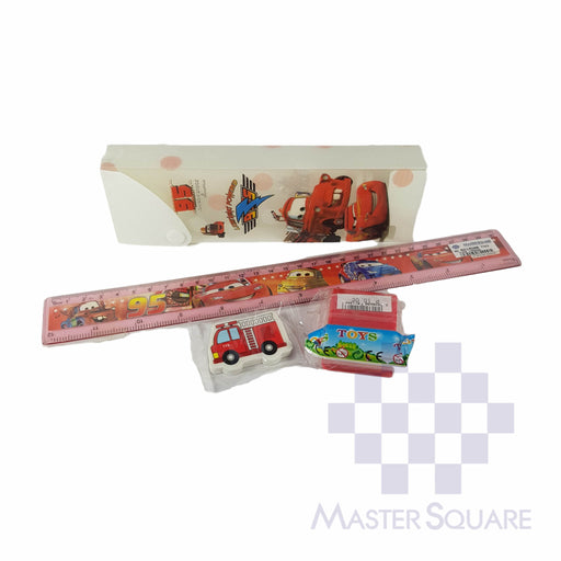 Pencil Set With Pencil Box, Ruler, Sharpener And Eraser Cars-Master Square