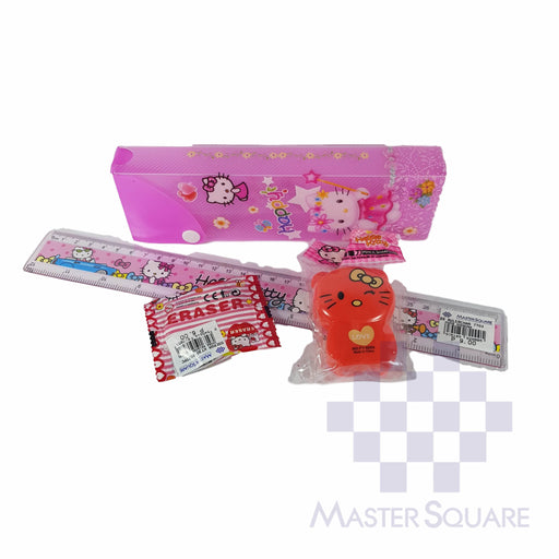 Pencil Set With Pencil Box, Ruler, Sharpener And Eraser Hello Kitty-Master Square