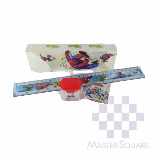 Pencil Set With Pencil Box, Ruler, Sharpener And Eraser Spiderman-Master Square