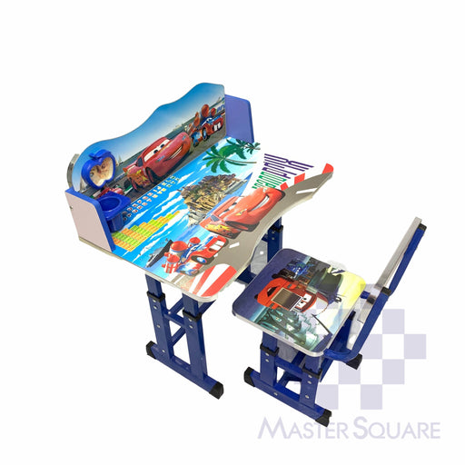 Kids Desk And Chair Set 27 X 18 In Cars In Blue-Master Square
