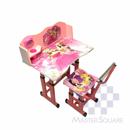 Kids Desk And Chair Set 27 X 18 In Barbie In Pink-Master Square