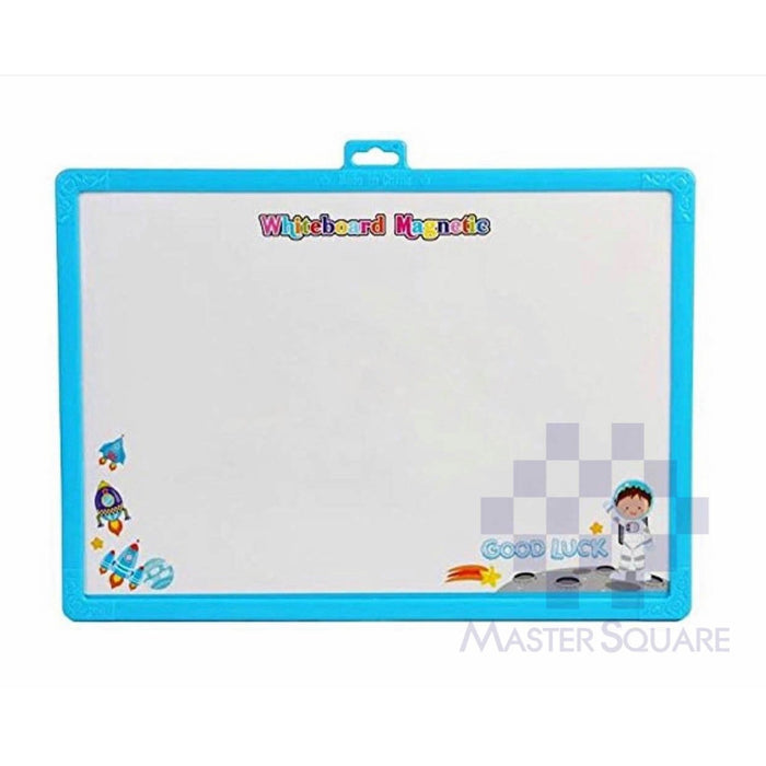 Magnetic White Board 24 X 35 Cm Aerospace In Blue With Whiteboard Pen And Eraser, Magnets And Magnetic Dart Pins-Master Square