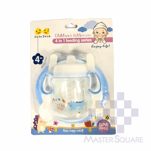 Feeding Set 4 In 1 Series Blue Sippy Cup, Bowl, Spoon And Fork-Master Square