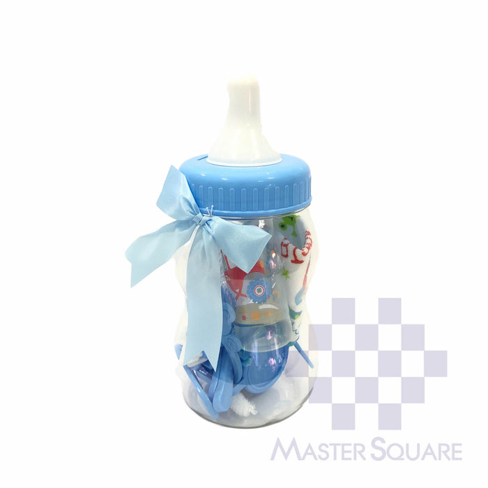 Baby Gift Set 10 In 1 Blue Feeding Bottle, Sippy Cup, Bottle Brush, Hair Brush, Nipple Brush, Rattle, Spoon And Fork, Bib-Master Square