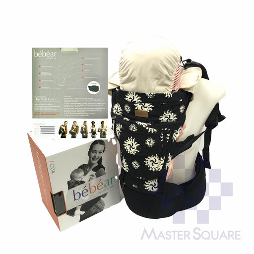 Bebear Hip Seat Carrier C04 Black With Print 5 Carry Positions-Master Square