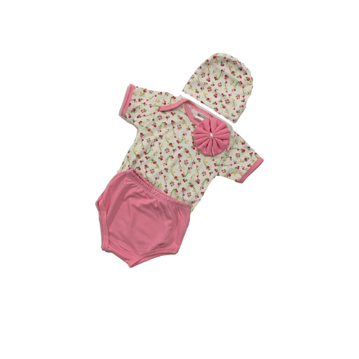 Baby Gift Set Montaly 4 Pc Set Includes Tshirt, Diaper Pant, Cap, Wash Cloth For 0-3 Months Made In Bangkok L002 Pink-Master Square