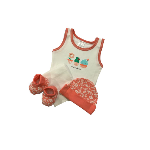 Baby Gift Set Wonderful Memories 4 Pc Set Includes Tank Top, Hat, Booties, Wash Cloth For 0-6 Months Made In Bangkok Wm316002 Coral-Master Square