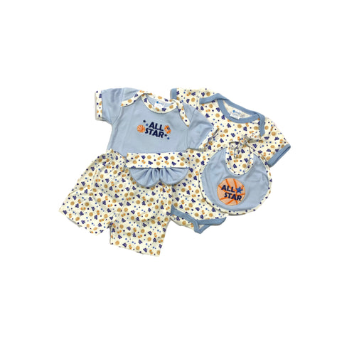 Baby Gift Set Montaly 5 Pc Set Includes Tshirt, Short Pant, Body Suit, Bib, Cap For 0-3 Months Made In Bangkok S007 Blue-Master Square