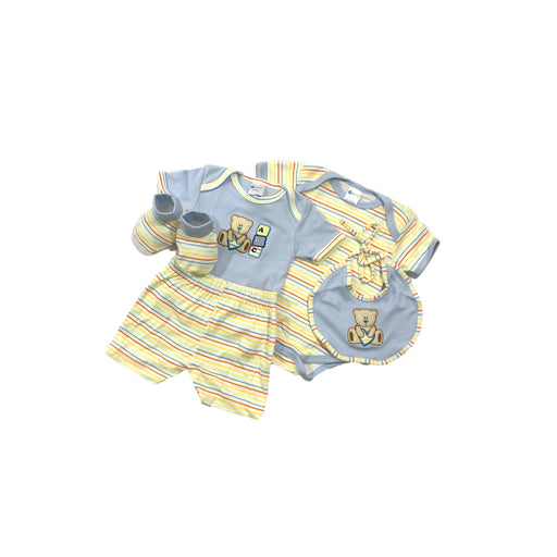 Baby Gift Set Montaly 5 Pc Set Includes Tshirt, Short Pant, Body Suit, Bib, Booties, For 0-3 Months Made In Bangkok S005 Blue-Master Square