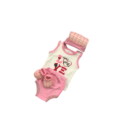 Baby Gift Set Babies G 4 Pc Set Includes Tank Top, Diaper Cover, Hat, Booties For 0-3 Months Made In Bangkok Bg411 Pink-Master Square