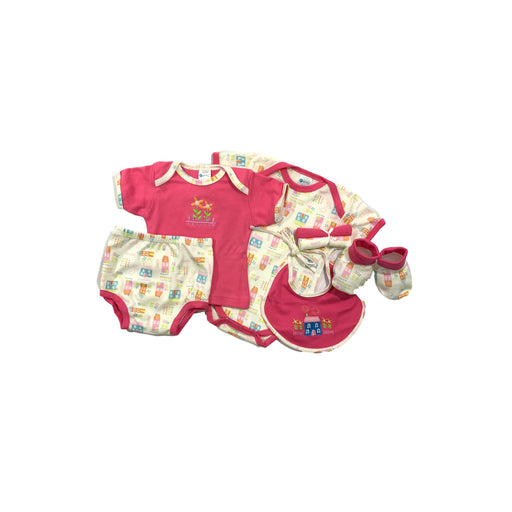 Baby Gift Set Montaly 5 Pc Set Includes Tshirt, Body Suit, Diaper Pant, Bib, Booties, 2*wash Cloth For 0-3 Months Made In Bangkok S005 Pink-Master Square