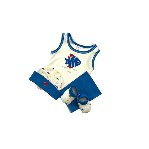 Baby Gift Set Wonderful Memories 4 Pc Set Includes Tank Top, Hat, Booties, Wash Cloth For 0-6 Months Made In Bangkok Wm316002 Blue-Master Square