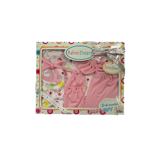 Baby Gift Set Babies Dream 5 Pc Set Includes Tshirt, Short Pant, Bib, Mitten, Face Cloth For 0-6 Months Made In Bangkok Bd003 Pink-Master Square