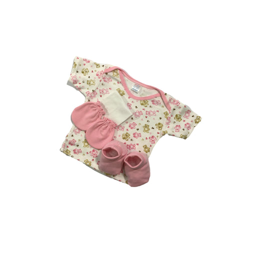 Baby Gift Set Babies Dream 4 Pc Set Includes Tshirt, Mittens, Booties, Face Cloth For 0-6 Months Bd-004 Pink-Master Square