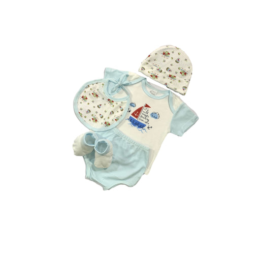 Baby Gift Set Aeiou 5 Pc Set Includes Tshirt, Bib, Hat, Diaper Cover, Booties For 0-6 Months Made In Bangkok Ae-012 Blue-Master Square