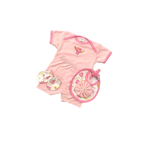 Baby Gift Set Montaly 5 Pc Set Includes Tshirt, Short Pant, Bib, Mittens, Wash Cloth For 0-6 Months Made In Bangkok S033 Pink-Master Square
