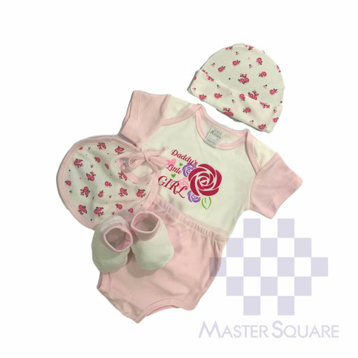Baby Gift Set Aeiou 5 Pc Set Includes Tshirt, Bib, Hat, Diaper Cover, Booties For 0-6 Months Made In Bangkok Ae-012 Pink-Master Square