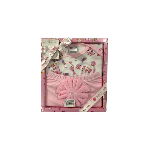 Baby Gift Set Montaly 4 Pc Set Includes Tshirt, Long Pant, Mittens, Wash Cloth For 0-3 Months Made In Bangkok L002 Pink-Master Square