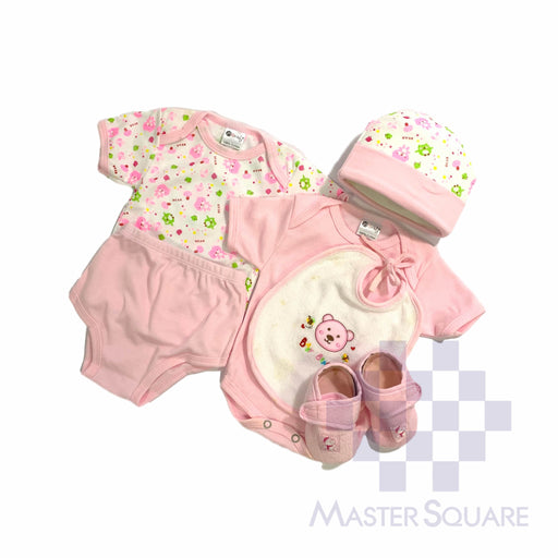 Baby Gift Set Montaly 6 Pc Set Includes Tshirt, Body Suit, Diaper Pant, Bib, Cap, Shoes Booties For 0-3 Months Made In Bangkok S002 Blue-Master Square