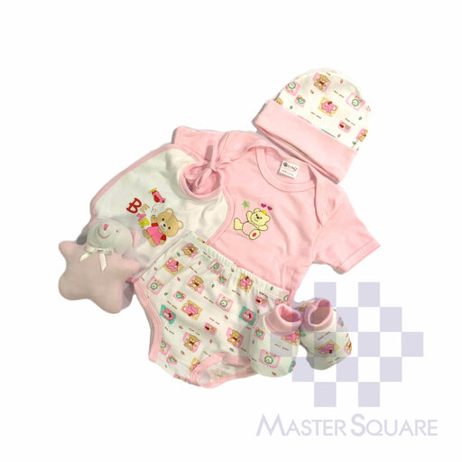 Baby Gift Set Montaly 6 Pc Set Includes Tshirt, Under Wear, Bib, Cap, Shoes Booties, Toy For 0-6 Months Made In Bangkok S002 Blue-Master Square