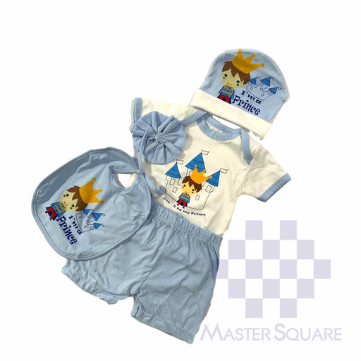 Baby Gift Set Montaly 5 Pc Set Includes Tshirt, Short Pant,cap, Washcloth, Bib, For 0-3 Months Made In Bangkok 5536-1 Blue-Master Square