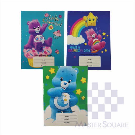 Notebook Composition 80lvs Care Bears Design Set 2 Pack Of 3-Master Square