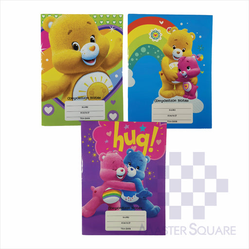 Notebook Composition 80lvs Care Bears Design Set 3 Pack Of 3-Master Square