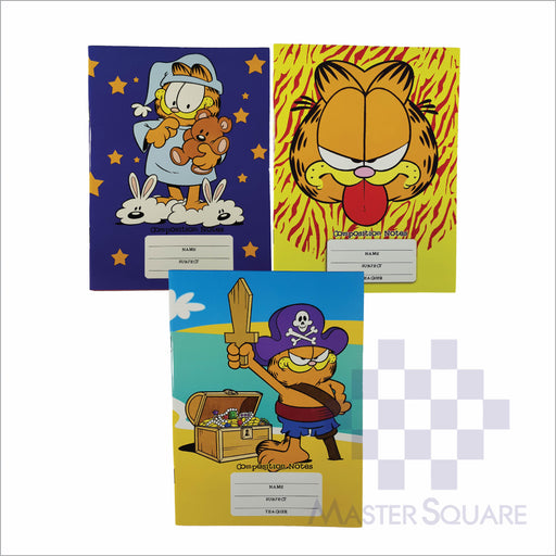 Notebook Composition 80lvs Garfield Design Set 3 Pack Of 3-Master Square