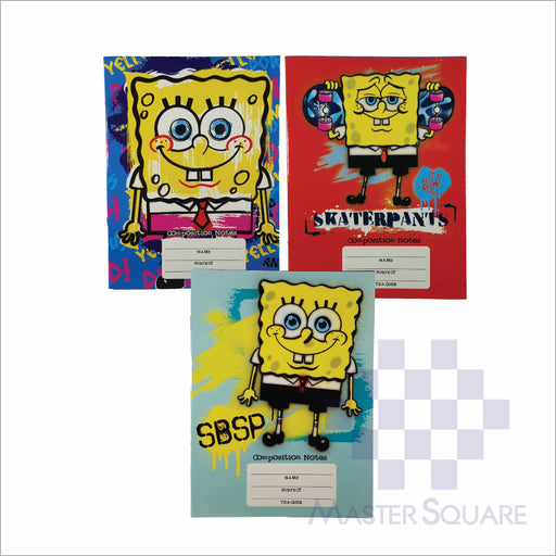 Notebook Composition 80lvs Spongebob Design Set 2 Pack Of 3-Master Square